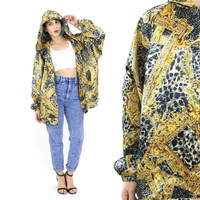 80s 90s Baroque Bomber Jacket Hooded Satin Bomber Jacket Black Gold Hip Hop Slouchy Long Sleeve Leopard Print Plus Size Windbreaker (L/XL)