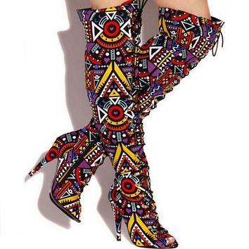 Peep Toe Lace Up Printing Knee High Boots