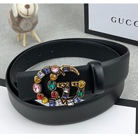 Gucci retro color diamond inlaid double G buckle fashion ladies belt