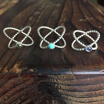 X-rings sterling silver Ethiopian Opal Iolite Turquoise Orbit Hammered Beaded Texture Band