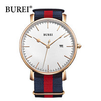 Burei Men's Watch Waterproof Stainless Blue And Red Nylon Cloth Strap