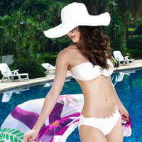 Strapless Bandeau Top in White Swimwear with Wave Lace Panty
