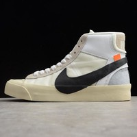 Off-White x Nike Blazer Studio Mid Black White Gray The Ten - Best Deal Online