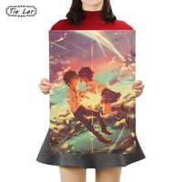 TIE LER Your Name Poster Cafe Bar Home Decor Painting Anime Kraft Paper Wall Sticker Wallpaper 50.5x35cm