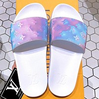 Onewel LV Shoes Louis Vuitton Slippers Flat Sandals Laser Monogram Sky blue Light Purple Shoes