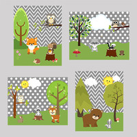Nursery Art Prints Decor, Woodland Animals, Gray Background CUSTOMIZE YOUR COLORS, 8x10 Prints, set of 4, baby room kids room playroom