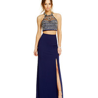 Sequin Hearts Beaded Illusion Bodice Two-Piece Gown | Dillards