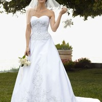 Satin Ball Gown with Beaded Lace Appliques - David's Bridal- mobile
