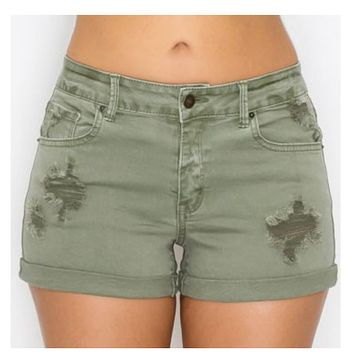 Cozy Destroyed Olive Cuffed 5 Pocket Shorts