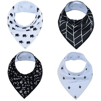 The 1 Pack Baby Bandana Drool Bibs for Drooling Teething Baby Bibs with Snaps Burp Cloth printing Scarf Colorful Baby Bibs