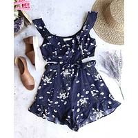 LUSH - Floral Print Romper in Navy