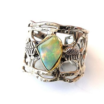 Ethiopian Opal Rough Two Tone Vine Sterling Silver Band Ring