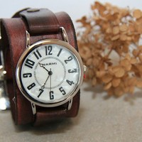 $62.00 Big and Bold Deep Brown Leather Watch by CreativeUrges