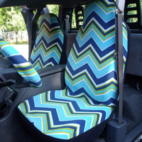 A Set of Muilti Blue Chevron Print Seat Covers and Steering Wheel Cover Custom Made
