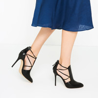 HIGH HEEL LEATHER ANKLE BOOTS WITH STRAPS - NEW IN-WOMAN   ZARA United Kingdom