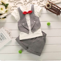 Baby Clothing Set For Summer Butterfly Bow-Tie Grid Kid's Boy Suit Gentleman Tshirt + Shorts 2pcs
