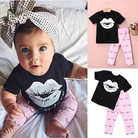 Pink Love T-shirt + Pants 2pcs Set