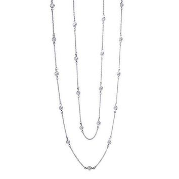 Lafonn Simulated 36 Inch Diamond by the Yard Round Cut Necklace