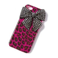 Glitter Leopard Print and Rhinestone Bow Cover for iPhone 5  | Claire's