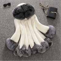 3XL fashion faux fur coat women white gray with fur hat fur jacket winter jacket women Speaker sleeves woman coat 1400