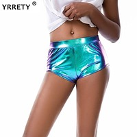 High Waisted Metallic Shine Mini Hot Pants Shorts
