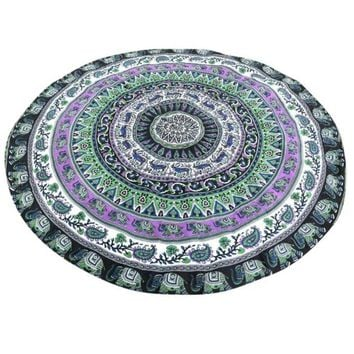 Green Blue Fashion Chiffon Printed Round Indian Elephant Mandala Tapestry Beach Towel Rug Blanket Yoga Mat Nov19