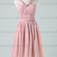 2014 New Arrival A-line V-neck Sleeveless Knee-length Chiffon Pleat Short Bridesmaid Dresses Prom Dresses Evening Dresses Party Dresses