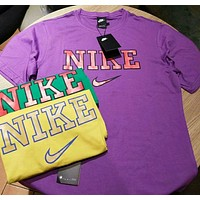 """Hot Sale """"Nike"""" Trending Unisex Loose Letter Print Short Sleeve T-Shirt Pullover Top Purple I-CY-MN"""