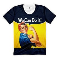 "Ladies Rosie the Riveter ""We Can Do It!"" All-Over Shirt (Made in the USA)"