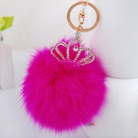 Crown Fox PomPom Plush Bag Charm - KeyChain