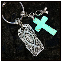 Christian Keychain, Cowgirl Keychain, Best Friends Keychain,Turquoise Cross Keychain, Cross Key Chain w/ Fish Symbol Charm