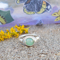 Ring, silver ring, Green Aventurine, Aventurine ring, wire jewelry, boho ring,wire wrapped ring, bohemian ring, custom ring, healing jewelry