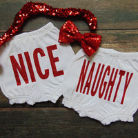 NICE & NAUGHTY Christmas Baby Bloomers - New Baby Custom Ruffle Shorts - Diaper Cover - Holiday Clothing - Glitter/Sparkle -  Ann Marie Ave