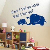 Wall Decor Vinyl Decal Sticker Elephants Mom Son Love Quote Kg137