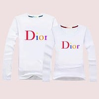 Dior Women Men Lover Casual Long Sleeve Top Sweater Pullover