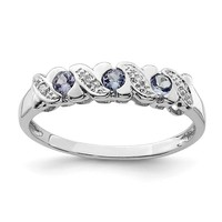 Sterling Silver 3 Stone Round Tanzanite & Diamond Ring