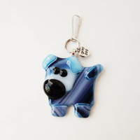 Dog Zipper Pull - Dog Zipper Charm - Fused Glass Dog - Dog Lover Gift - Children's Accessory - Backpack Accessory - Purse Accessory