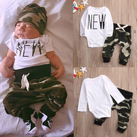 Newborn Baby Boys Girls Kids Clothes Set Romper Tops Long Sleeve Pants 2pcs Baby Boy Clothing Outfits Sets