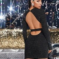 Low Back Glitter Bodycon Mini Dress
