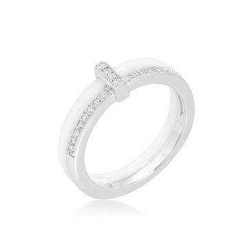 Lafi White Ceramic Cocktail Band Ring | .3 Carat | Cubic Zirconia  | Sterling Silver