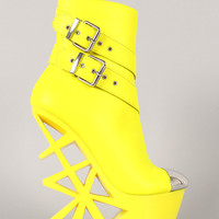 Privileged Stuntin Neon Buckle Cut Out Wedge Bootie