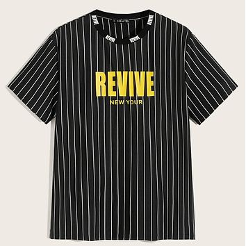 Fashion Casual Men Letter and Striped Tee