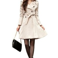 Promithi Women's Wild Slim Fitted Long Trench Coat