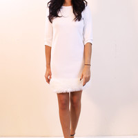Crepe Three Quarter Sleeve Shift Dress with Fur Trim Hem in Soft Cream