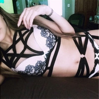 2016 hot-sell women Fashion harness bondage bra Wedding garter belt body cage Crop top Goth summer Harajuku Style sexy cage top rave fetish dance clothing Accessories (Size: One Size, Color: Black) [9324253892]