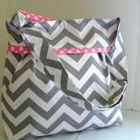 Chevron Diaper Bag  Made of Gray and Pink Adjustable by fromnancy