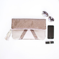 Blush Pink Leather & Rose Gold Sequins Metallic Leather Clutch, iPad Case, Fancy Bridesmaid Gift, Sequin Fold over Purse