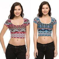 Sexy Aztec Print Scoop Neck Short Sleeve Cropped Casual Top Shirt Cotton Spandex