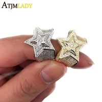 Luxury hip hop bling jewelry Star shape christmas gift for men bling bling micro pave cz gold silver color cz engagement ring
