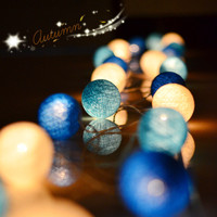 NEW 5M 20 LED Cotton Ball LED String Lighting Holiday Christmas Wedding Party Curtain Decoration Lights Drop Warm White Light
